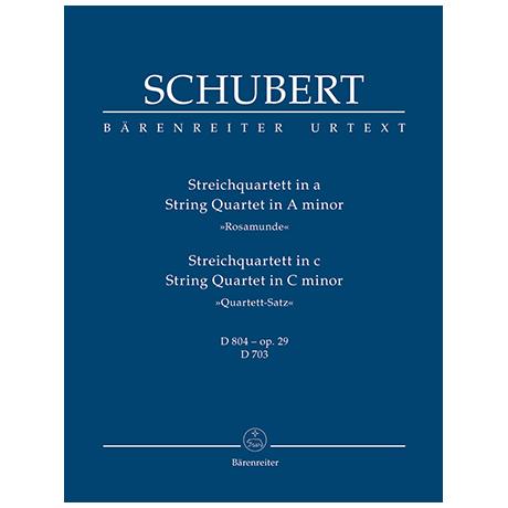 Schubert, F.: Streichquartett D 804 a-Moll »Rosamunde« und Quartettsatz D 703 c-Moll – Partitur