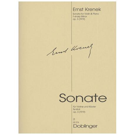 Krenek, E.: Violinsonate Op. 3 fis-Moll