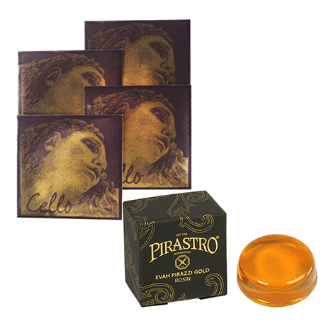 PIRASTRO Evah Pirazzi Gold cello strings SET + rosin