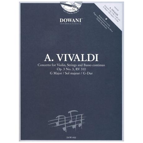Vivaldi, A.: Violinkonzert Nr. 3 Op. 3 RV 310 G-Dur (+CD)