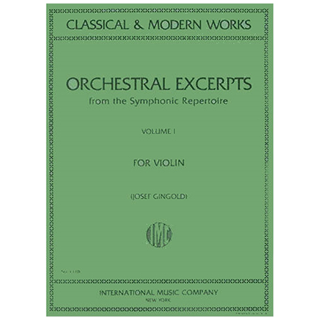 Gingold, J.: Orchestral Excerpts from the Symphonic Repertoire Band 1
