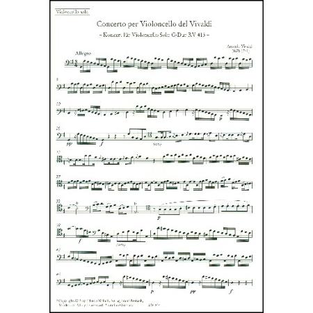 Vivaldi, A.: Violoncellokonzert Nr. 16 RV 413 G-Dur – Stimmen