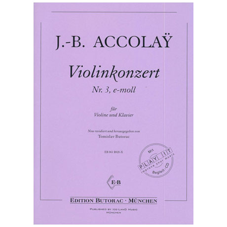 Accolay, J. B.: Violinkonzert Nr. 3 e-Moll (+CD)