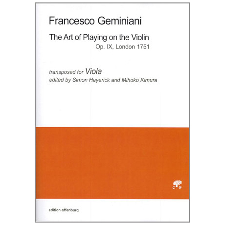 Geminiani, F.: The Art of Playing on the Violin Op.9 - Fassung für Viola