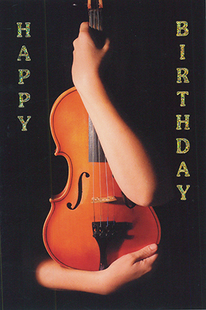 Postcard Happy Birthday Violin