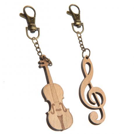 Keyring pendant wood