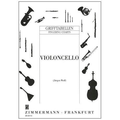 Grifftabelle für Violoncello