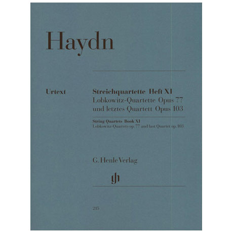Haydn, J.: Streichquartette Heft 11: Op. 77/1-2, Op. 103 (Lobkowitz-Quartette + letztes Q.) Urtext