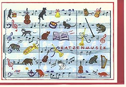 Art greeting card Cat's music (cacophony)