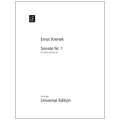 Krenek, E.: Sonata Nr. 1 Op. 33