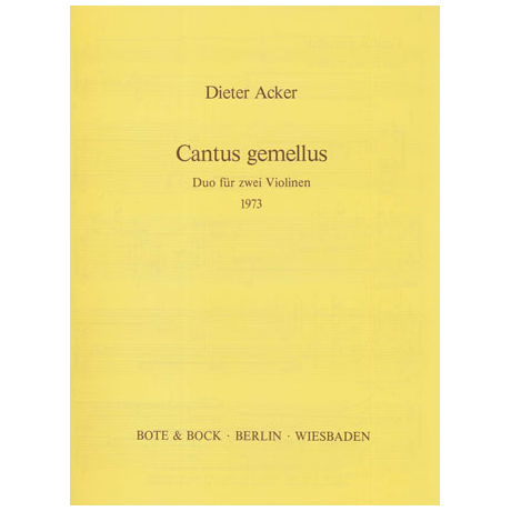 Acker, D.: Cantus gemellus