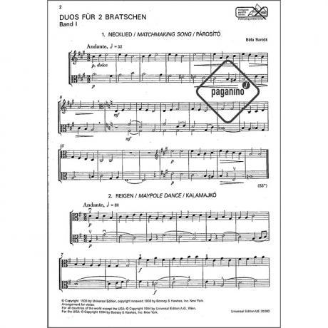 Bartók, B : 44 Duos für 2 Violen Bd  1